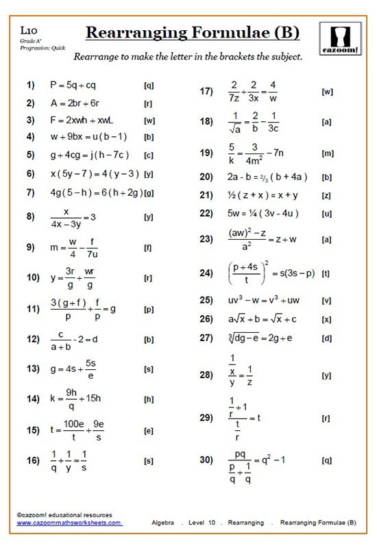 Rearranging Equations Worksheets Cazoom Maths