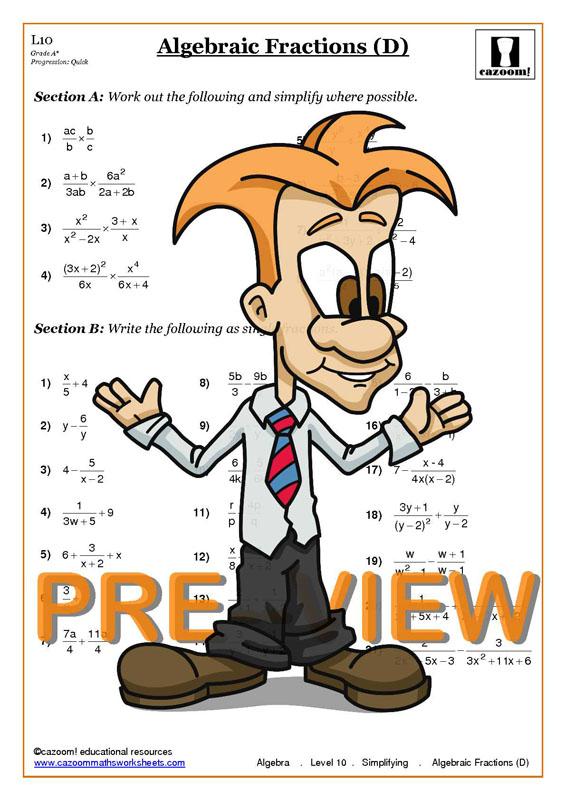 math worksheet : gcse maths algebraic fractions worksheets  educational math  : Gcse Maths Tutor Worksheets