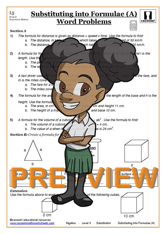 Substiution Worksheets with Answers   Cazoom Maths Worksheets