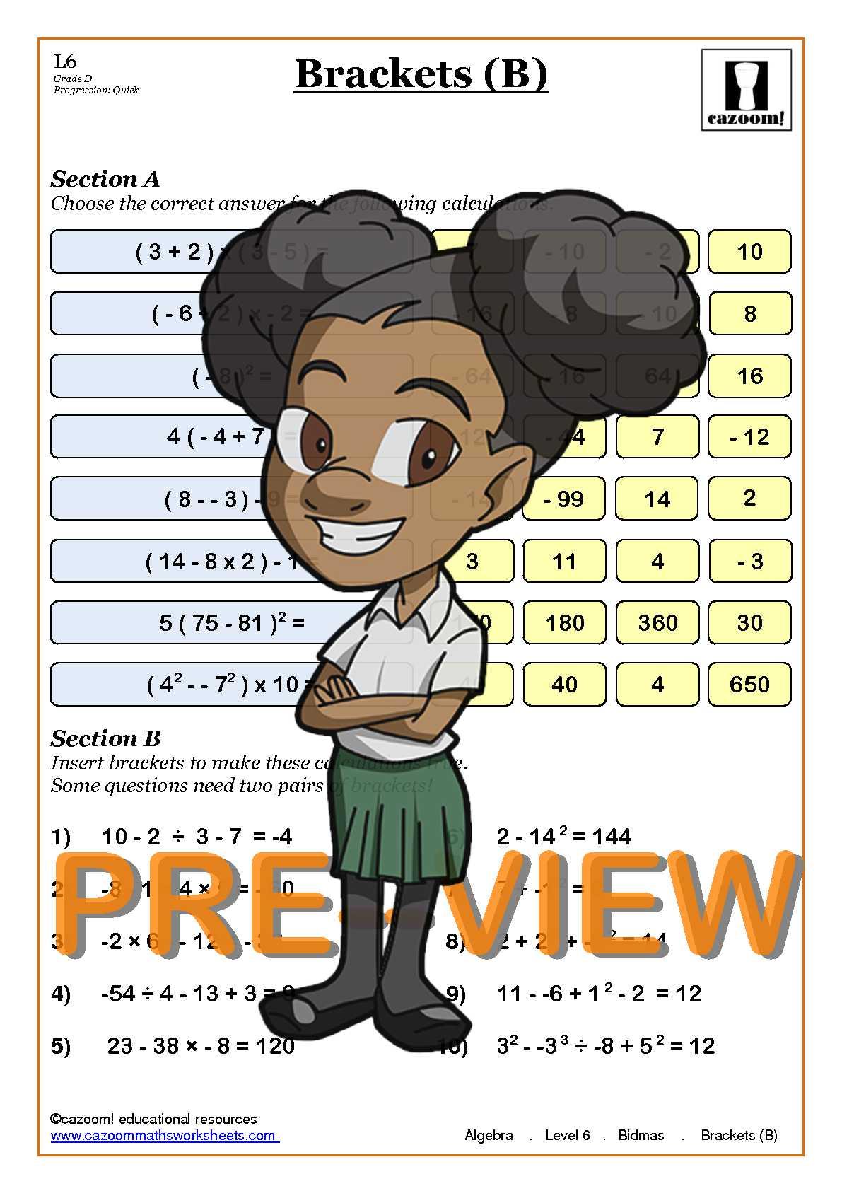 math worksheet : bodmas  cazoom maths worksheets : Bodmas Maths Worksheets