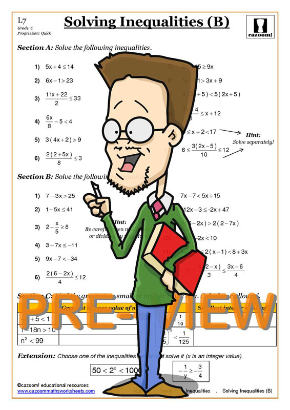 Inequalities Cazoom Maths Worksheets