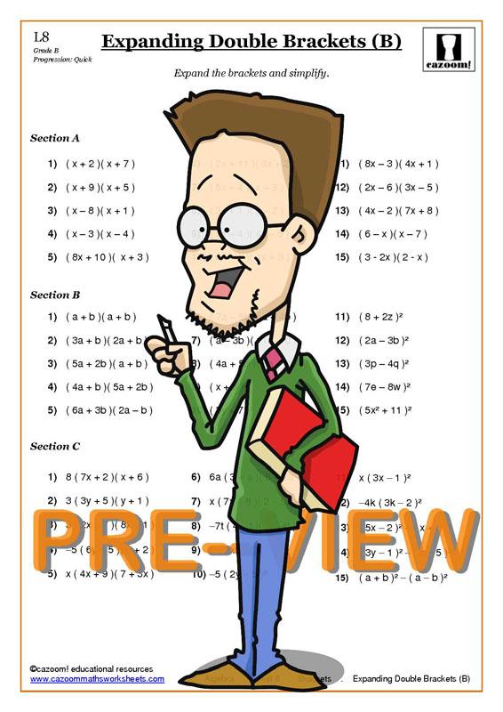 math worksheet : expanding brackets  cazoom maths worksheets : Double Brackets In Math