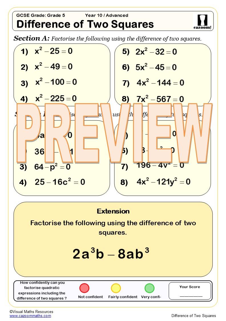 Ks3 And Ks4 Factorising Worksheets Cazoom Maths Worksheets