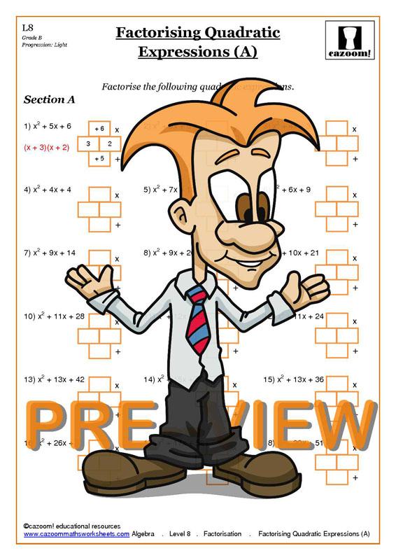 Factorising Worksheets With Answers   GCSE Factorising Worksheet PDF