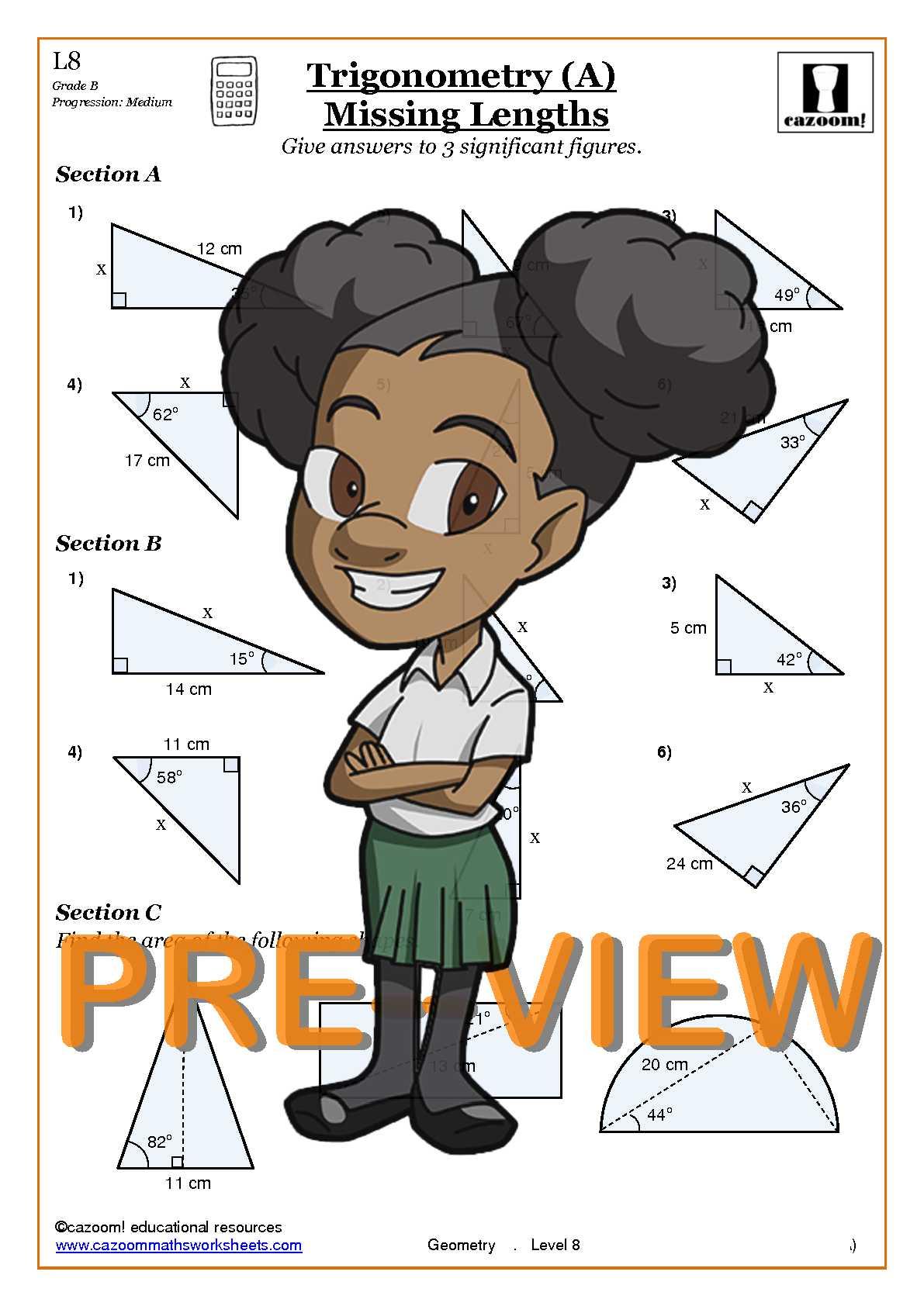 math worksheet : trigonometry  cazoom maths worksheets : Math Trigonometry Worksheets