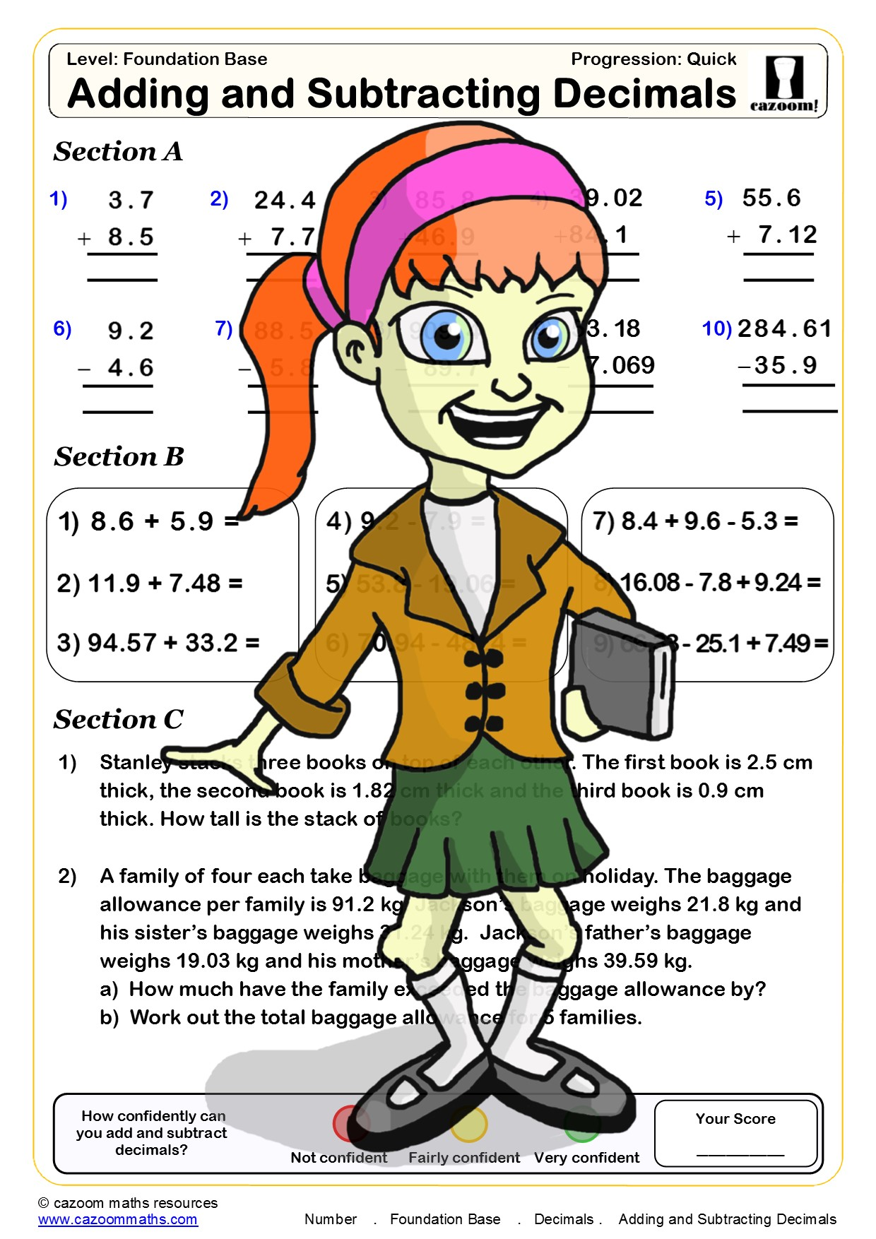 adding and subtracting decimals quiz pdf