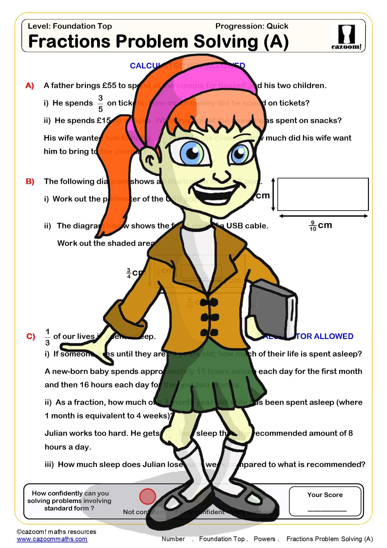 fractions worksheets ks3 and ks4