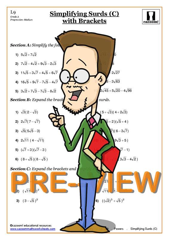 Powers Worksheet KS3 | Laws of Exponents Worksheets