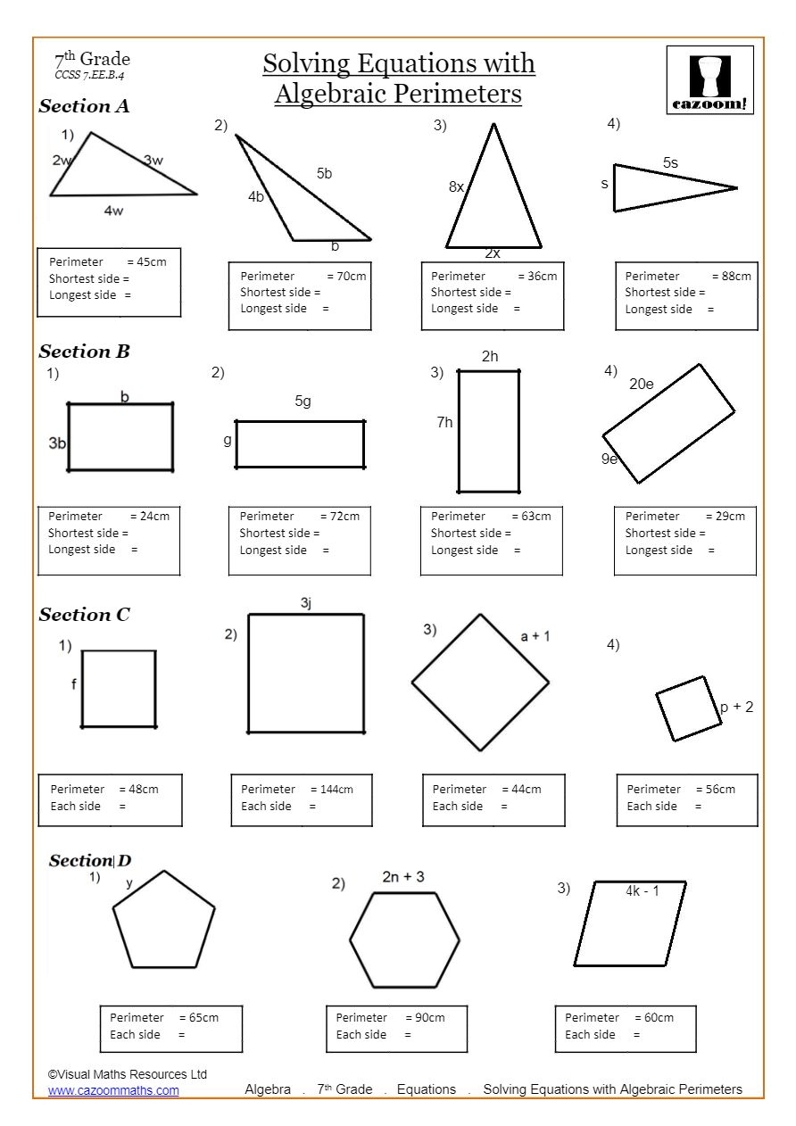 - Solving Linear Equations Worksheets PDF Cazoom Math