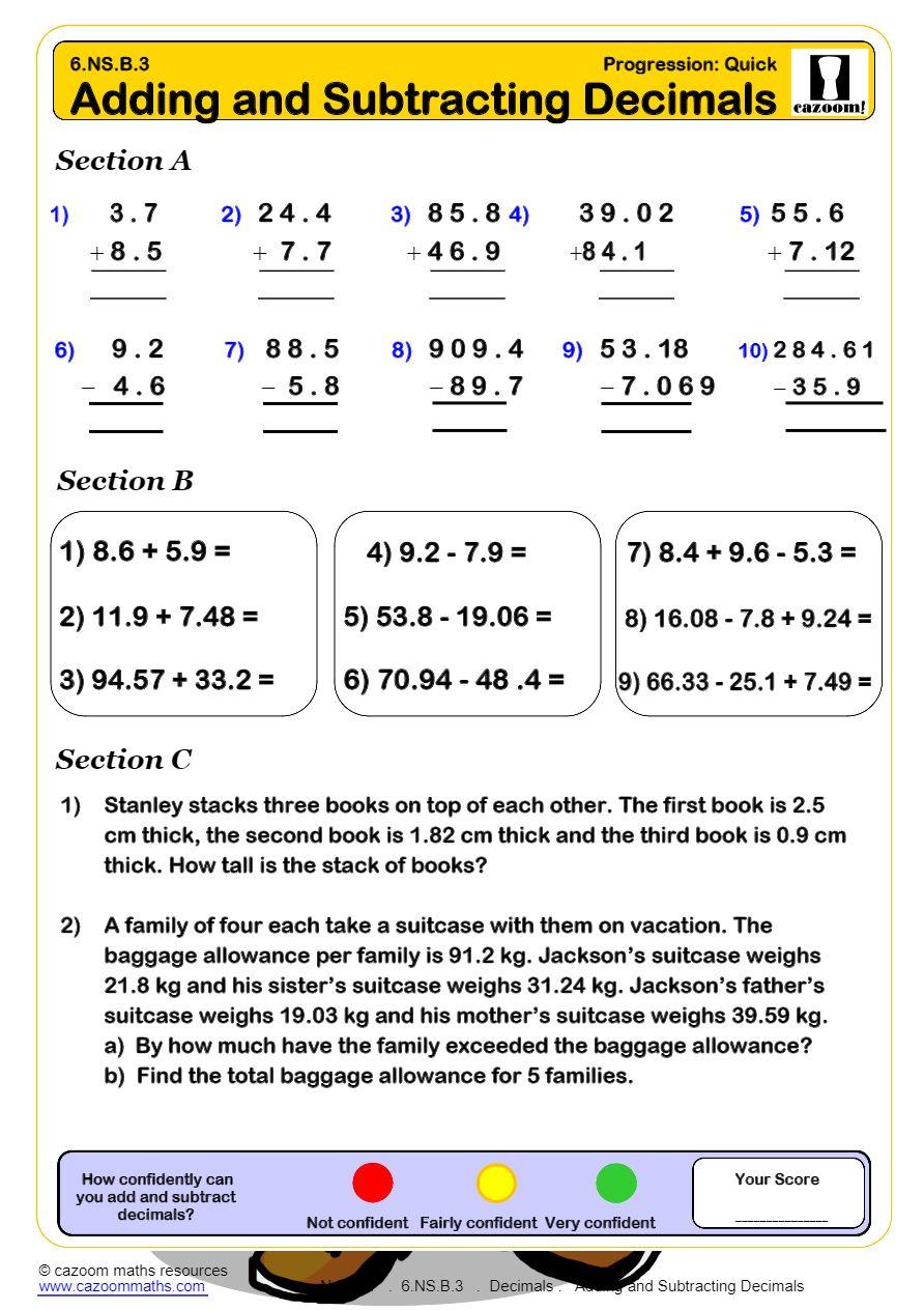 KS2 Decimals Worksheets PDF | Decimals Worksheets GCSE