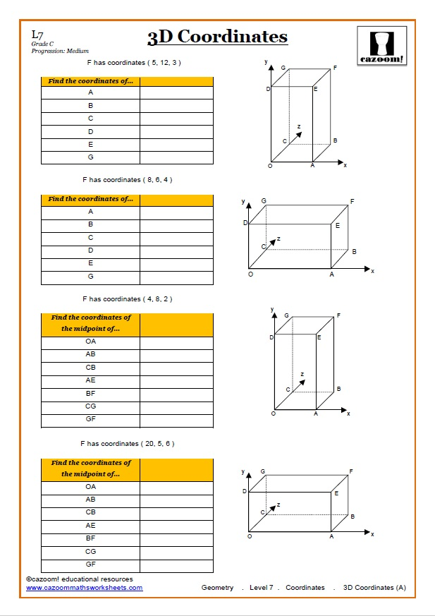 Coordinates Maths Worksheet