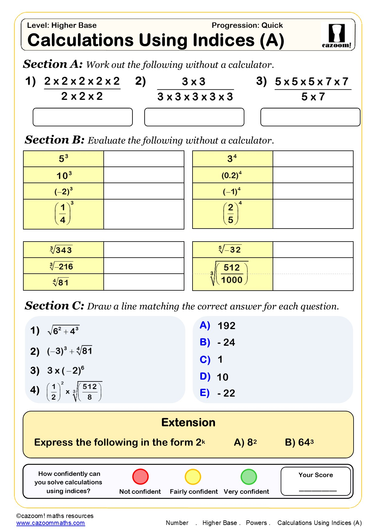 Standard Form Maths Worksheet