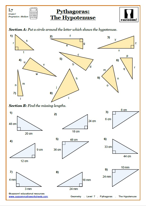 Pythagoras Worksheets Pythagorean Theorem Worksheets