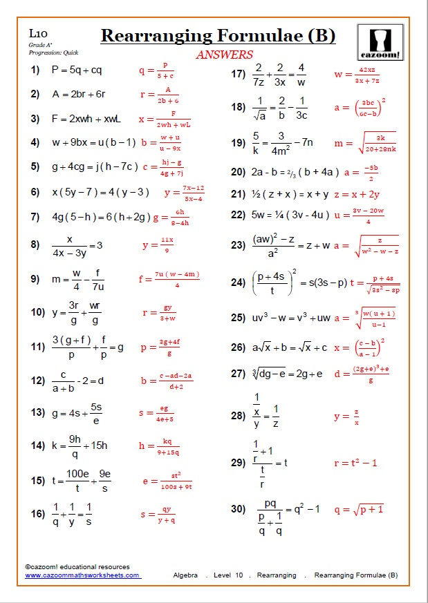 Rearranging Algebraic Equations Worksheet with Answers