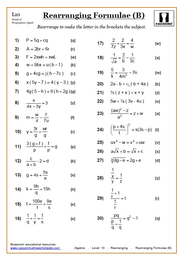 Rearranging Equations (Worksheets) | Cazoom Maths