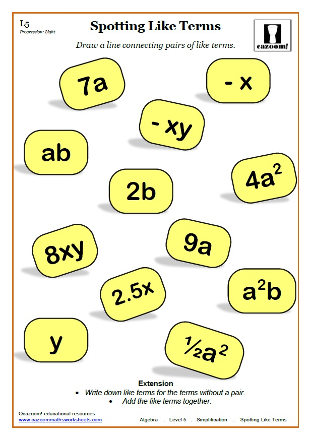 Simplification Maths Worksheet