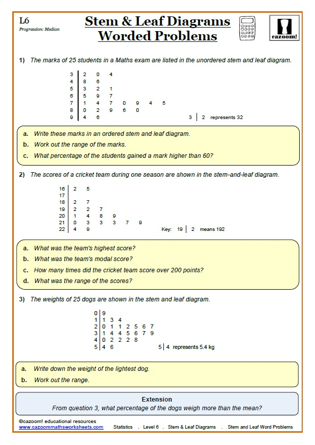 Stem and Leaf Maths Worksheet