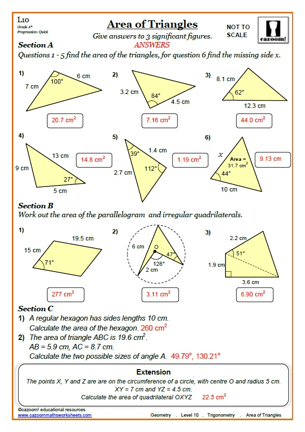 trigonometry worksheets with answers area of triangle trig worksheet. Black Bedroom Furniture Sets. Home Design Ideas