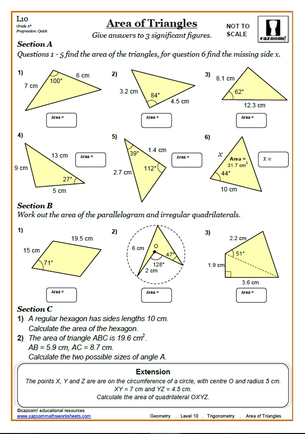 Trigonometry Worksheets with Answers | Area of Triangle Trig Worksheet