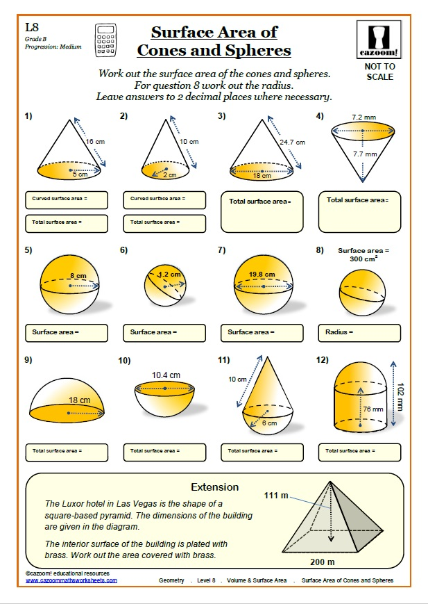 Printable Volume And Surface Area Worksheets Cazoom Maths