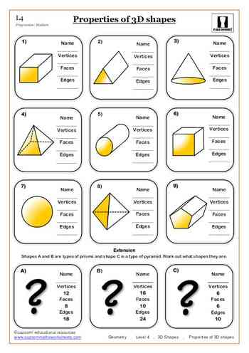 Free Printable Worksheets Properties of 3D shapes Maths Worksheet