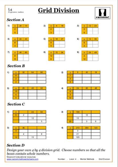 Division Worksheets division worksheets with grids : Mental Methods | Cazoom Maths Worksheets
